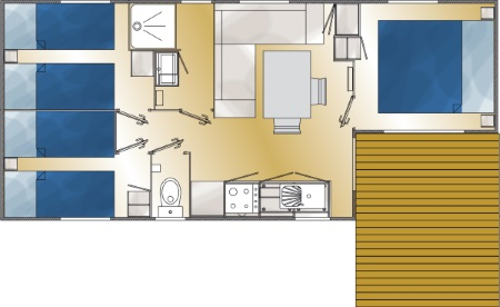 Plan du mobil home 3 chambres