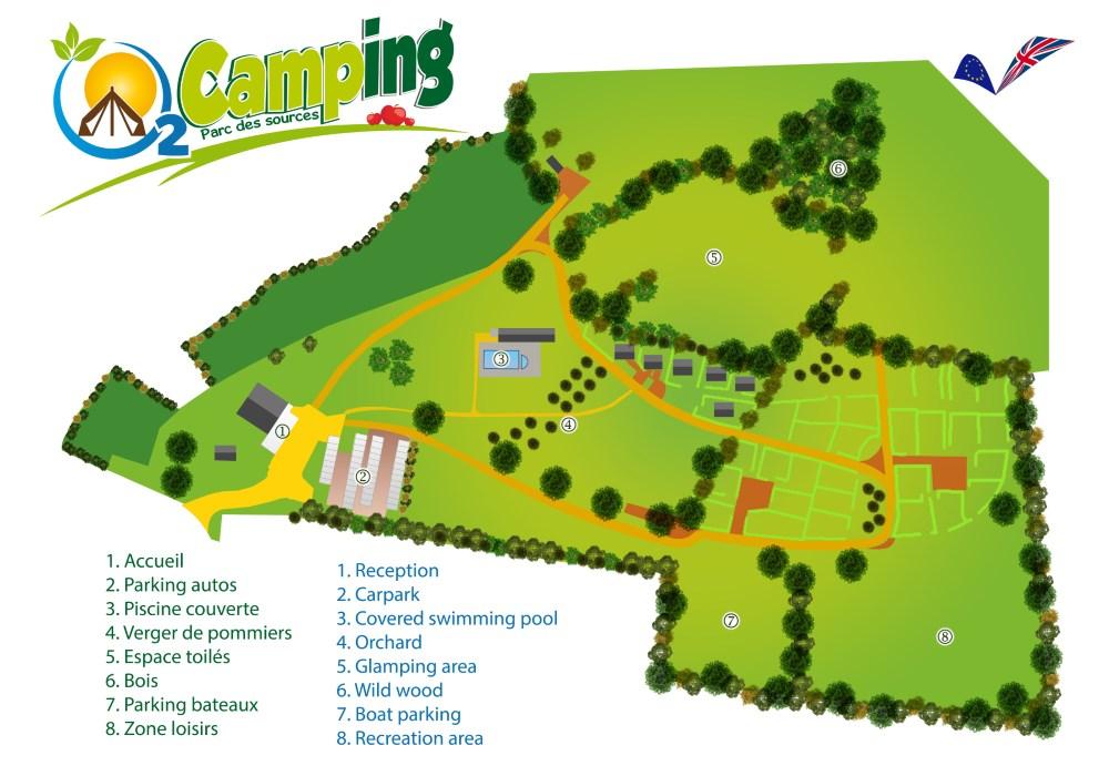 Plan du camping O2 Camping